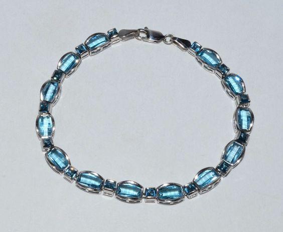 Fine Estate Blue Topaz 10k White Gold Fashion Ladies Tennis Bracelet