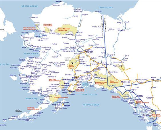large map of alaska usa with