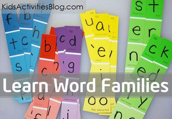 """Use letter """"slides"""" made out of paint chips to help your child learn word families.  Also, there is a list of the most common word family groups that kids should learn in kindergarten."""