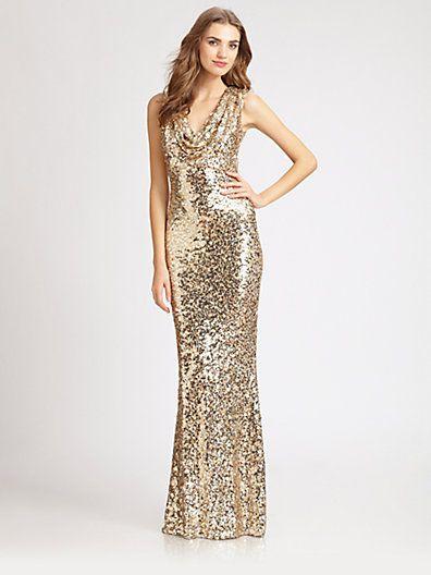 gold sequined gown  badgley mischka  Duffy Wedding ahhhh ...