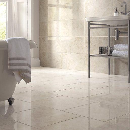 Wickes Nevada Light Cream Gloss Marble Effect Ceramic Wall & Floor Tile 450x450mm