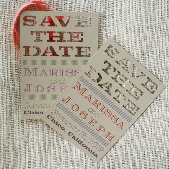 Laser cut Save the Date - Etsy