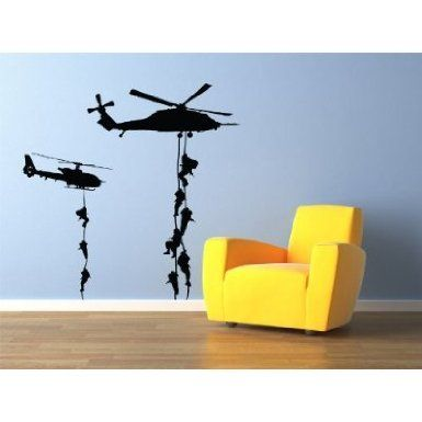 """Military Helicopter troopers rappelling Wall Decal Vinyl Military Sticker 22x22"""" Home Decor - Amazon.com"""