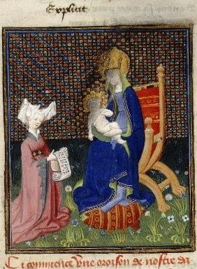 Harley 4431 fol 265 detail (Lady praying before the Virgin). Paris, France 1410-1414.