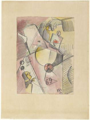 Kurt Schwitters. N Watercolor 1. (The Heart Goes from Sugar to Coffee) (N Aquarell 1. (Das Herz geht vom Zucker zum Kaffee)). 1919
