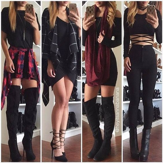 Flawless outfits! Layering rocks. Love the plaid!
