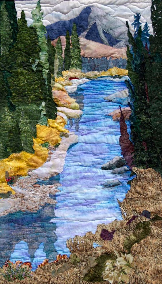 """Landscape Quilt - """"The River Runs Through"""" - Artist Jeanine Malaneypaintingwithfabric.com:"""