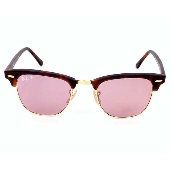 ray ban havana on violet new clubmaster sunglasses  ray ban clubmaster polarized sunglasses matte red havana frame/polar dark pink lens