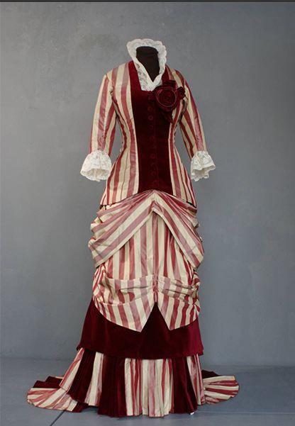 1880 silk taffeta striped dress, reproduction, made for a Living History event 'Der Kaiser kommt'.