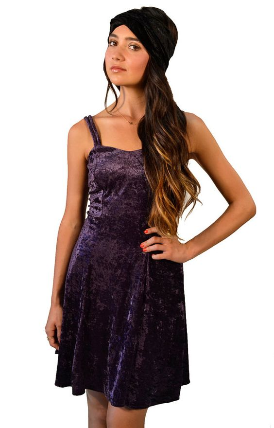 Vintage 90s Grunge Purple Crushed Velvet Spaghetti Strap Mini Dress -#velvet n #vintage!!! <3