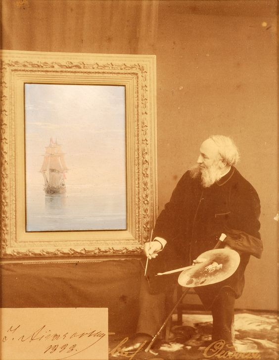 https://flic.kr/p/bczARg | Ivan Aïvazovski, photo montage, 1888 | Ivan Aïvazovski (1817 - 1900) Le peintre devant son chevalet,  photo montage…:
