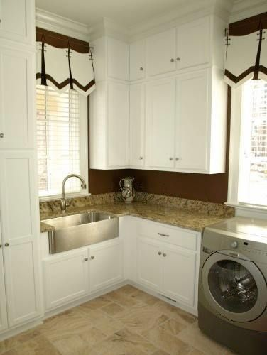Great Laundry Room With Granite Counters And Cute Window