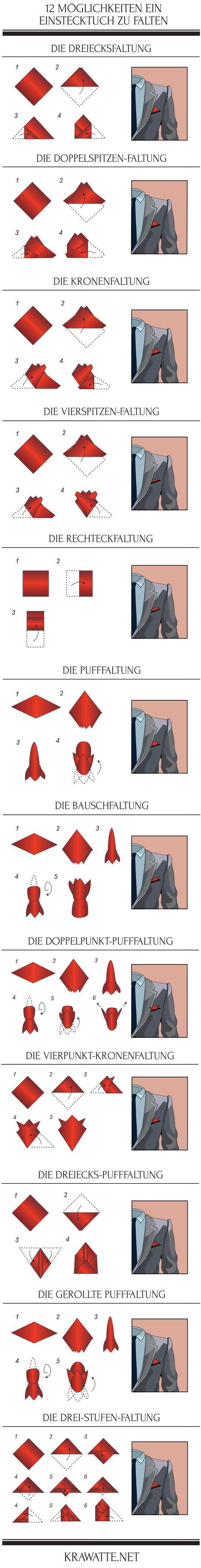 12 Falttechniken für das Einstecktuch. Mehr Infos auf unserem Blog https://www.krawatte.net/Herrenmode-Blog/einstecktuch-falten-kniffe-fuer-den-perfekten-auftritt/
