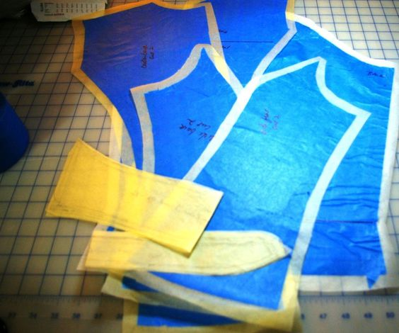 A friend asked me if I had tried this method to copy a garment. At first I was pretty skeptical because I have copied garments by taking them apart and by scratching off a pattern from clothing that I did not take apart. Either way there are several steps and accuracy is easier if you have the pieces to lay flat. I was not excited about using tape on a garment I planned to wear again, but 3M's blue painter's tape is made to be less tacky so there is no residue. As it turns out this is…