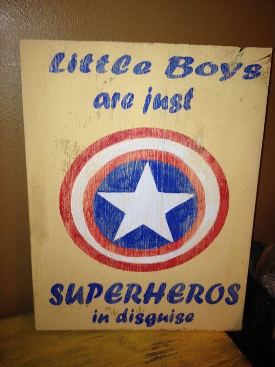 Vintage Captain America Superhero Little Boys Room Sign Primitive. $27.00, via Etsy. **For Logan.