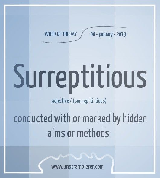 Surreptitious Good Vocabulary Words English Vocabulary Words Interesting English Words