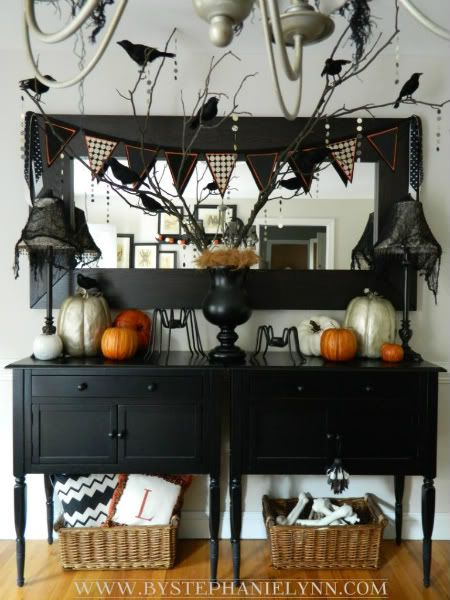fascinating halloween dining room ideas | Hanging banner, Halloween displays and Mantles decor on ...