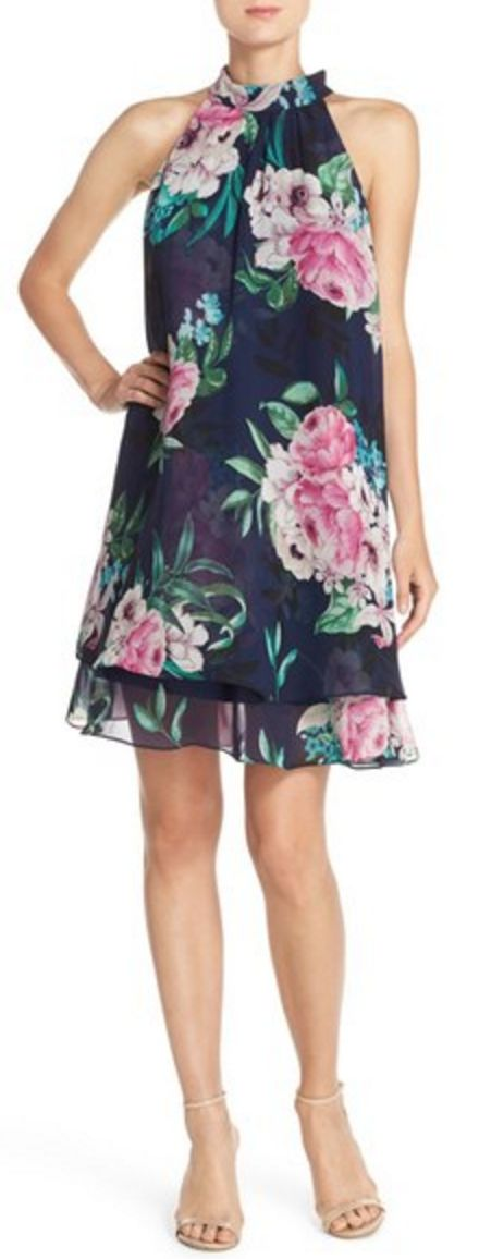 Navy and Pink Floral Halter Neck Trapeze Dress