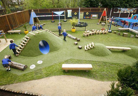 This is a kids dream! Hills, tunnels, and bridges. This is a great space for children to grow and explore.