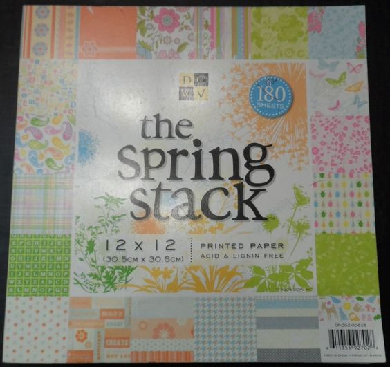 Scrapbook Paper Pad 12 x 12 Spring Stack 20 designs Papers 172/180 ct. DCWV  #DCWV