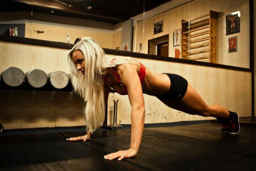 Push-ups have always been popular, haven't they? When done correctly, you will be strengthening the shoulders, chest and the triceps.
