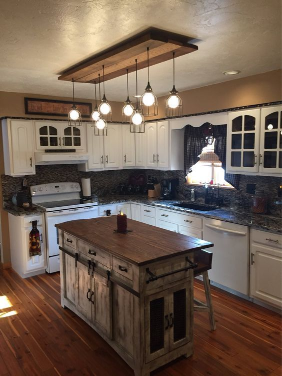 20 Charming Kitchen Lighting Ideas To State Your Room Nuance In 2020 Rustic Kitchen Island Rustic Farmhouse Kitchen Kitchen Style