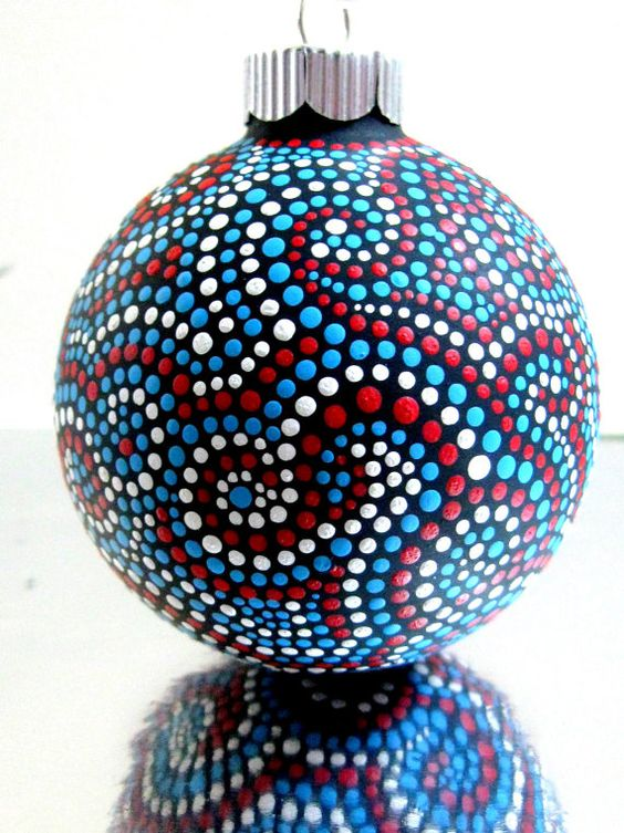 Glass Ornament Hand painted Looks like the art we saw in Australia