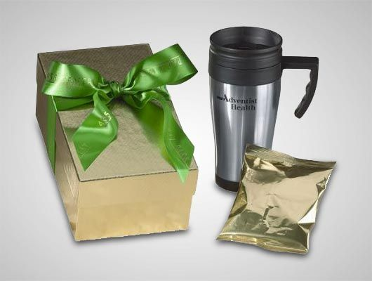 This durable, attractive travel mug offers large color imprint area--and it comes professionally gift-wrapped for instant giving.  low as $9.46 #PromotionalProducts #Custom #Chocolate #GiftSet #HotChocolate