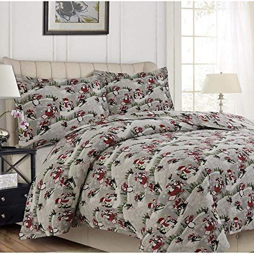 3 Piece Modern Flannel Plaid Duvet Cover Set Traditional