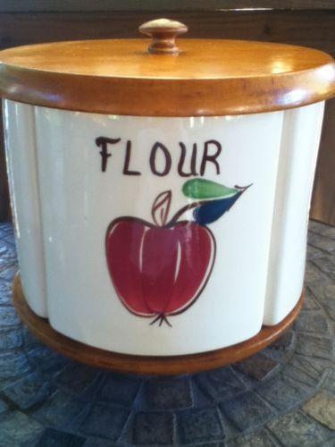 Vintage-Esmond-Pottery-Lazy-Susan-4-section-Ceramic-Canister-Set-Fruit-Pattern