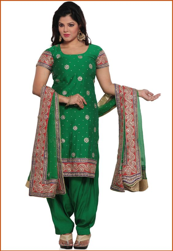 Green Pure Silk Punjabi Salwar Suit Online Shopping: KHS451