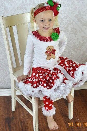 Girls Chirstmas Gingerbread Pettiskirt Set