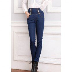 $10.78 Double-Breasted Wholesale High Waist Jeans Pencil Pants For Women