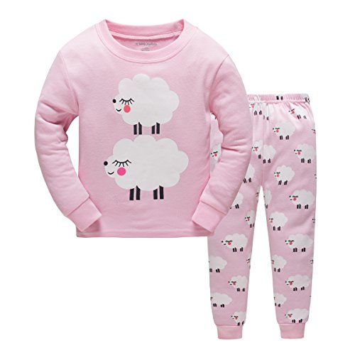 Girl Pajamas Children Pjs Kids Rib Long Sleeves Cotton Clothes Set