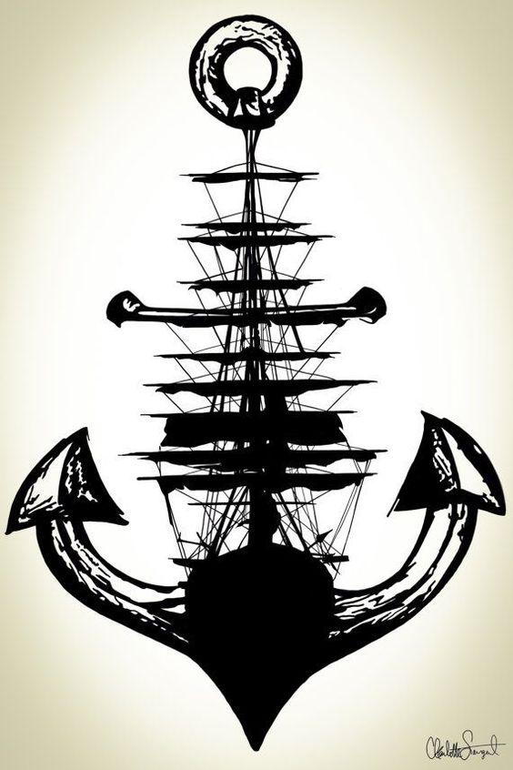 Anchor Tattoo Line Drawing : Boat anchor draw drawings pinterest sailing ships