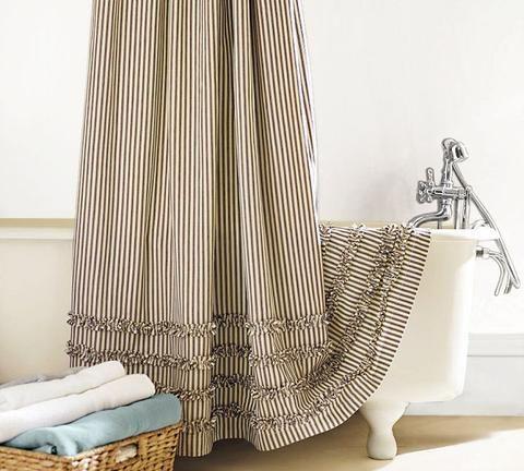 Ticking Stripe Ruffle Shower Curtain
