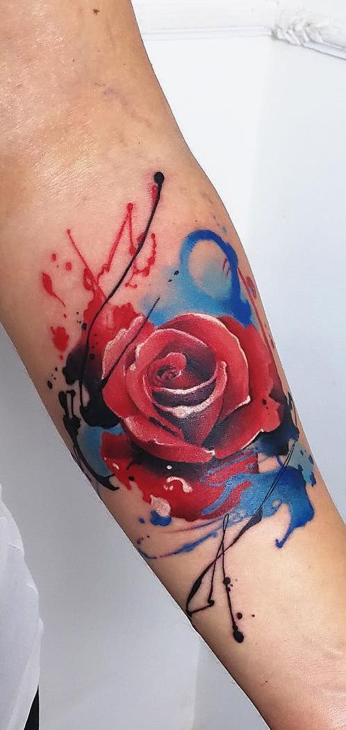 Watercolor Tattoos Will Turn Your Body Into A Living Canvas Watercolor Rose Tattoo C Tattoo Artist M In 2020 Rose Tattoo Design Watercolor Rose Tattoos Rose Tattoos