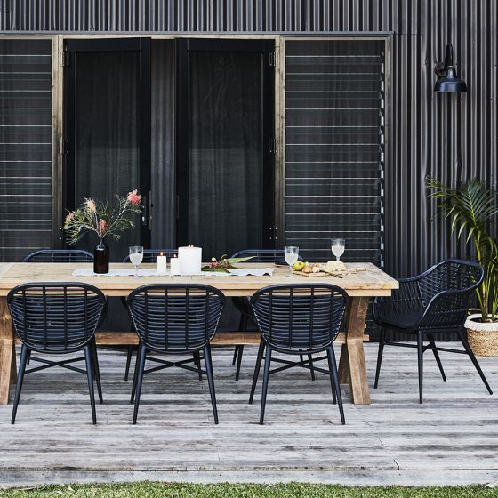 Reclaimed Teak Cross Leg Table 2600x100mm With 8 Deck Tub Chairs Package Natural Collection Sh Outdoor Dining Spaces Outdoor Dining Set Outdoor Patio Table Black outdoor dining chairs
