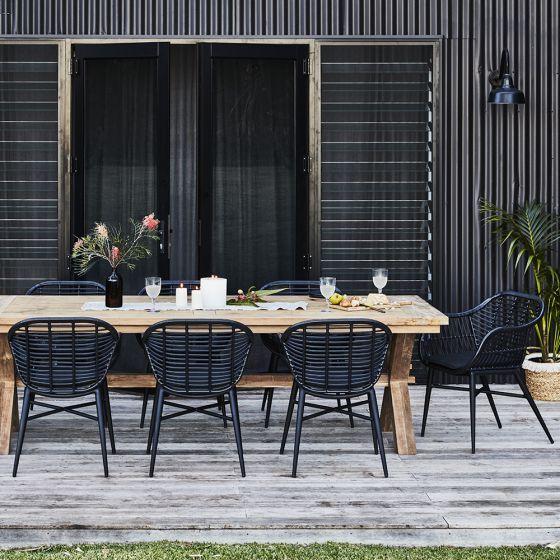 Deck Wicker Chair Black Outdoor Dining Set Outdoor Dining