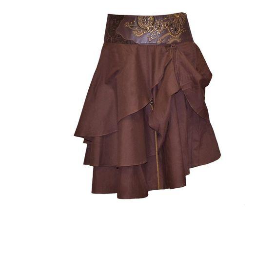 Jupe steampunk marron avec motifs dorés