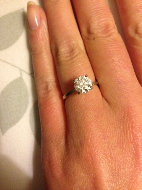 Thin engagement ring band with round solitaire diamond yes please