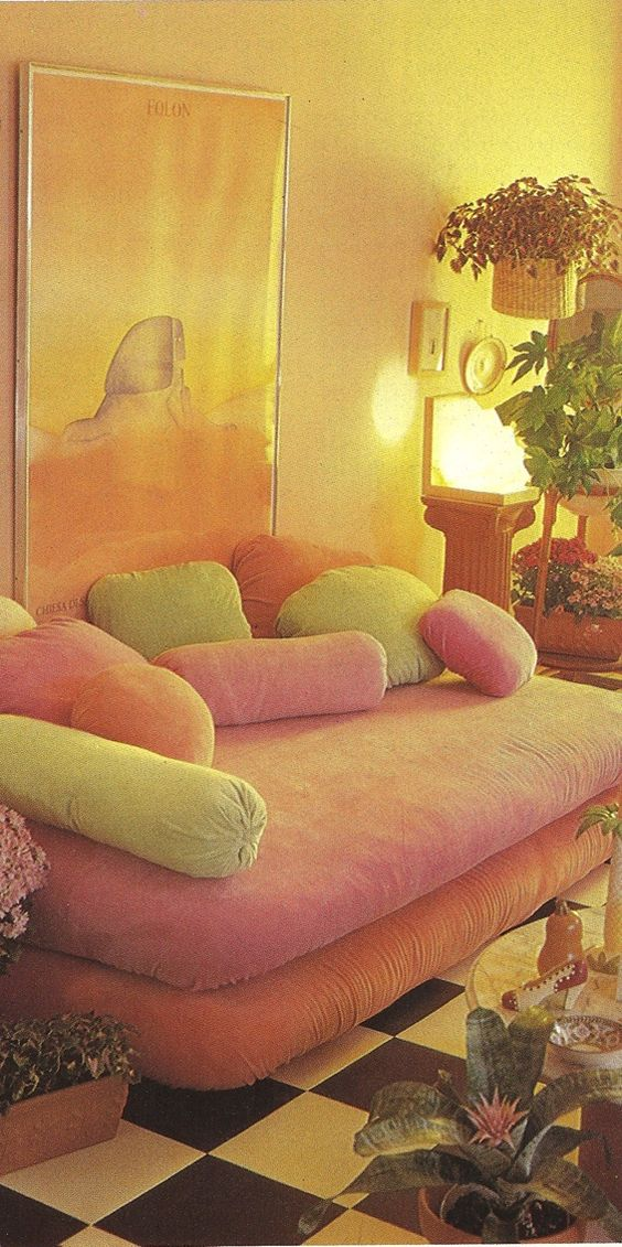 80sdeco:  pastel pillows, watercolor poster, classic b&w checkerboard floor
