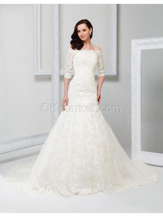 Off the shoulder sheath lace long sleeve chapel train wedding