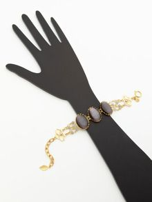 Grey Cabochon & Agate Bead Bracelet by David Aubrey