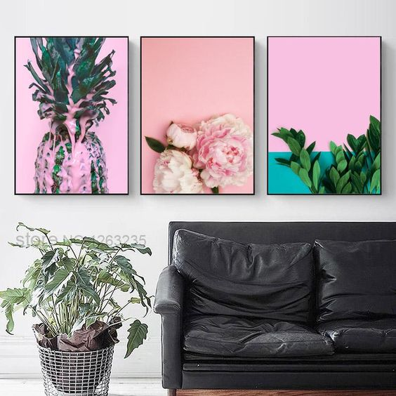Green Leaf Plants Nordic Poster Peony Flower Pineapple Wall Art Canvas Painting Wall Pictures For Living Room Cuadros Unframed