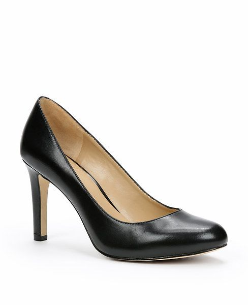 """Made+with+the+finest+leather,+our+forever+stylish+pumps+are+a+definitive+wardrobe+essential.+Round+toe.+Padded+footbed+for+complete+comfort.+Covered+3+1/4""""+heel."""