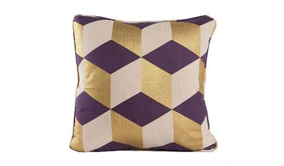 MONOQI | Cubes Kissen - Violett/Gelb