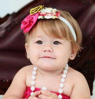 My baby girl, Kinley, modeling on Etsy :) Vintage inspired satin and chiffon headband Girl to by BowPosh, $11.99