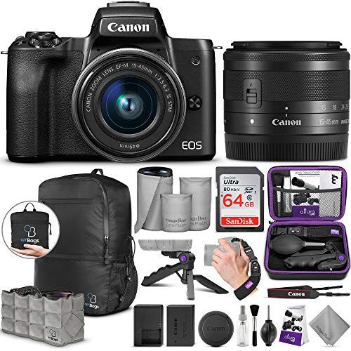Canon Eos M50 Mirrorless Digital Camera With Ef M 15 45mm Lens 4k Video With Advanced Photo And Travel Bundle Gift Advisor Mirrorless Camera Camera Digital Camera