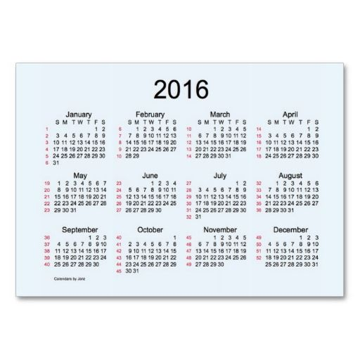 52 week calendar 2016 business cards zazzle calendars for Business card calendar